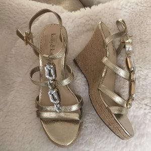 Gold wedges with rhinestones